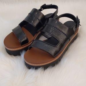 Zara Platform Sandal - Black - Size 39 EU